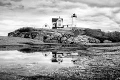 Nubble latarni morskiej odbicie Fotografia Royalty Free