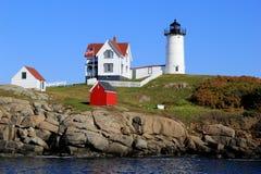 Nubble latarnia morska, jeden Maine sławny, Jork plaża, Wrzesień, 2014 Fotografia Royalty Free