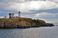 Nubble latarnia morska, Jork plaża, JA Obraz Stock