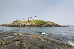 Nubble latarnia morska na przylądku Neddick Fotografia Royalty Free