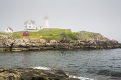 Nubble latarnia morska na przylądku Neddick Obraz Royalty Free