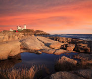 Nubble Light Sunset Stock Image