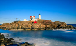 Nubble Lighthouse. Beautiful calm day at Nubble Lighthouse in Maine Stock Photo