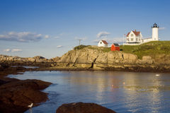 Nubble Lighthouse at Low Tide Royalty Free Stock Photography
