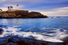 Nubble Lighthouse with Soft Water Royalty Free Stock Images