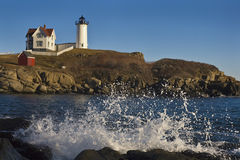 Nubble Lighthouse with a Splash Stock Photography