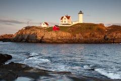 Nubble Lighthouse at sunset Stock Image