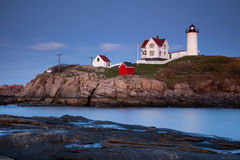 Nubble Lighthouse at sunset Royalty Free Stock Photos