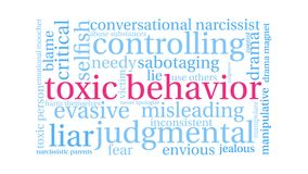 Nube animada de la palabra del comportamiento tóxico ilustración del vector