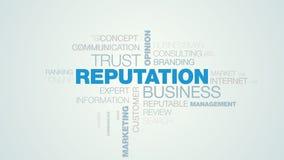 Nube animada de la palabra de las relaciones de la opinión de la confianza del negocio de la reputación de las RRPP de la credibi stock de ilustración
