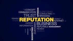 Nube animada de la palabra de las relaciones de la opinión de la confianza del negocio de la reputación de las RRPP de la credibi libre illustration