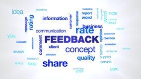 Nube animada de la palabra de la opinión del mensaje de cliente de la información de la parte de negocio del cliente de la comuni libre illustration