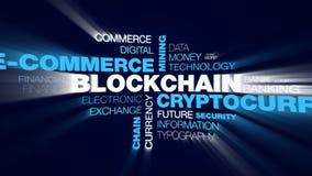 Nube animada simbólica de la palabra de la cadena del negocio del ethereum de la economía del bloque del bitcoin de la explotació imagenes de archivo