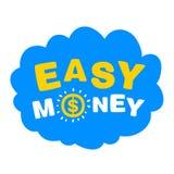 Nube azul con el dinero fácil de las palabras stock de ilustración
