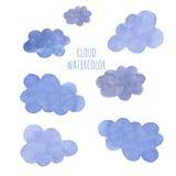 Nube azul dibujada mano de la acuarela Fotografía de archivo libre de regalías