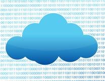 Nube azul y números binarios Foto de archivo