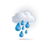 Nube blanca y gotas ilustración del vector