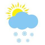 Nube con el sol y los copos de nieve Imagenes de archivo
