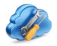 Nube con gli strumenti. icona 3D isolata Immagine Stock
