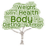 Nube conceptual de la palabra del árbol de la salud o de la dieta Fotografía de archivo libre de regalías