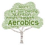 Nube conceptual de la palabra del árbol de la salud o de la dieta Imágenes de archivo libres de regalías