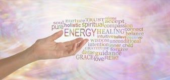 Nube curativa de la etiqueta de la palabra de la energía fotografía de archivo libre de regalías