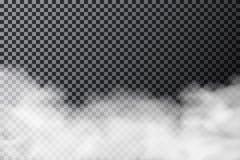 Nube de humo en fondo transparente Textura realista de la niebla o de la niebla aislada en fondo ilustración del vector