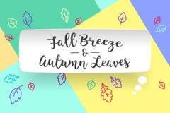 Nube de la burbuja del Libro Blanco con la brisa y Autumn Leaves de la caída del texto Humor del otoño, caída de la hoja que espe Fotos de archivo
