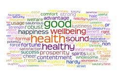 Nube de la etiqueta de la buena salud y del bienestar Foto de archivo libre de regalías