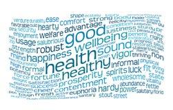 Nube de la etiqueta de la buena salud y del bienestar Imagenes de archivo