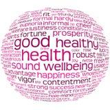 Nube de la etiqueta de la salud y del bienestar Imágenes de archivo libres de regalías