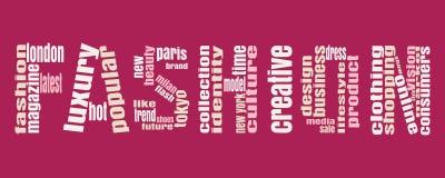Nube de la etiqueta de las palabras claves de la moda Imágenes de archivo libres de regalías