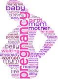 Nube de la etiqueta del concepto del embarazo Fotografía de archivo libre de regalías