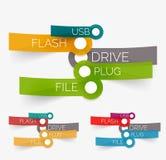 Nube de la etiqueta del flash del usb del vector en etiquetas engomadas Imágenes de archivo libres de regalías