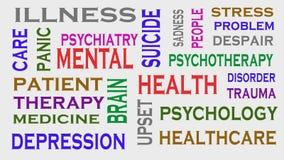 Nube de la etiqueta de la palabra de la salud mental Concepto MÉDICO imágenes de archivo libres de regalías