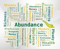 Nube de la palabra - abundancia con el claxon del icono de la abundancia Imagen de archivo libre de regalías