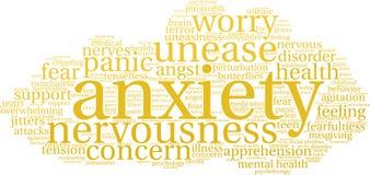 Nube de la palabra de la ansiedad ilustración del vector