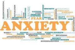 Nube de la palabra de la ansiedad stock de ilustración