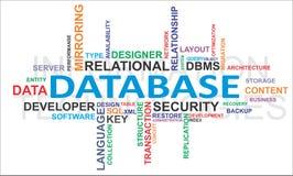 Nube de la palabra - base de datos Imagen de archivo libre de regalías