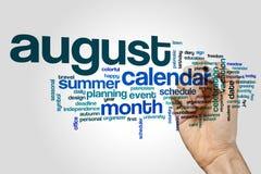 Nube de la palabra de agosto fotos de archivo libres de regalías