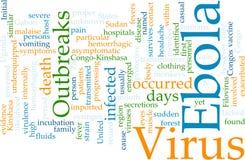 Nube de la palabra de Ebola Imágenes de archivo libres de regalías