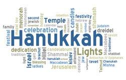 Nube de la palabra de Hanukkah Fotos de archivo