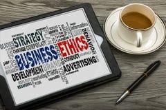 Nube de la palabra de la ética empresarial Fotografía de archivo libre de regalías
