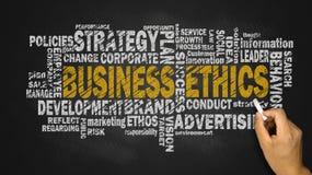 Nube de la palabra de la ética empresarial Foto de archivo libre de regalías
