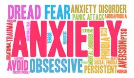 Nube de la palabra de la ansiedad Imagenes de archivo