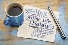 Nube de la palabra de la balanza de la vida del trabajo Imagen de archivo libre de regalías