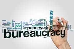Nube de la palabra de la burocracia en fondo gris Imágenes de archivo libres de regalías