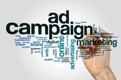 Nube de la palabra de la campaña publicitaria imágenes de archivo libres de regalías