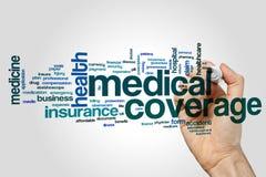 Nube de la palabra de la cobertura médica imágenes de archivo libres de regalías
