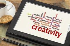 Nube de la palabra de la creatividad Fotografía de archivo libre de regalías